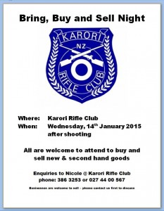 Karori Rifle Clubs Annual Bring Buy & Sell night All welcome to bring, buy & sell